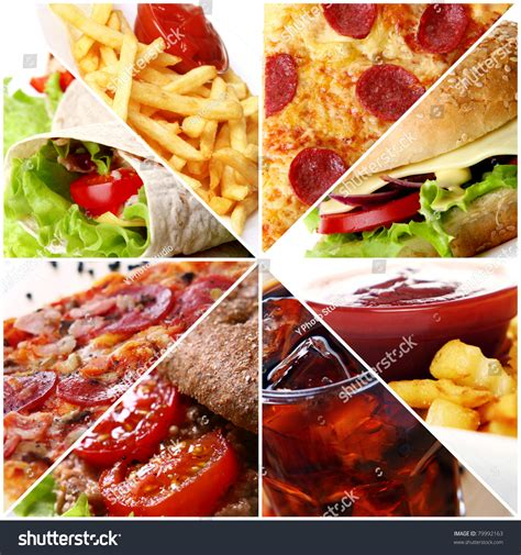 cuisine stock collage different fast food products stock photo 79992163
