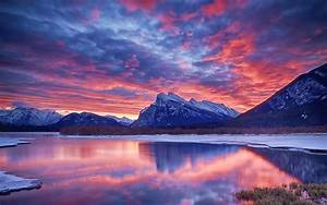 Winter, snow, lake, sky, clouds, sunset, glow, mountain ...