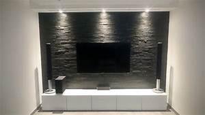 Tv Wand Bauen Anleitung : multimedia wohnzimmer mit naturstein verblender selber bauen ~ Articles-book.com Haus und Dekorationen