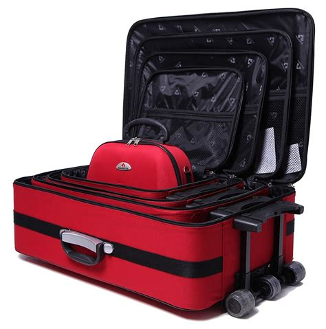 5pc Suitcase Trolley Travel Bag Luggage Set RED - Travel ...