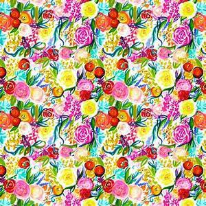 Neon Summer Floral Print SMALL SCALE PRINT wallpaper