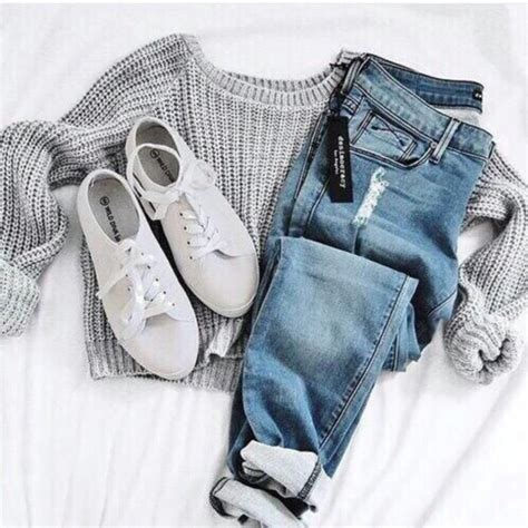 Jeans jumpsuit shoes shirt grey long sleeves sweater grey sweater white shoes casual ...