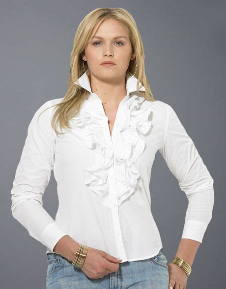 ruffled white blouse by ralph plus size mandell sleeved