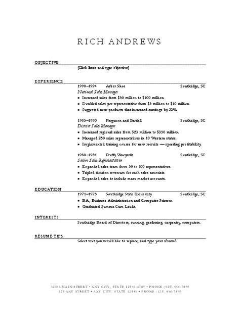 a resume on microsoft word 2