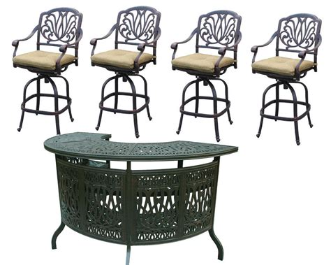 Patio Bar Set 5pc Elisabeth Outdoor Furniture 1 Table And