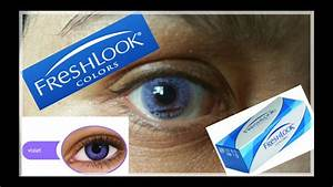 Freshlook Color Contacts~Violet on Dark Brown Eyes - YouTube