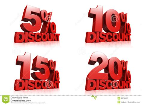 3d Render Red Text 5,10,15,20 Percent Discount Stock