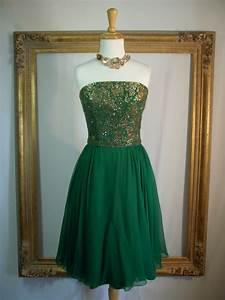 vintage 1960u002639s strapless emerald green chiffon by ...