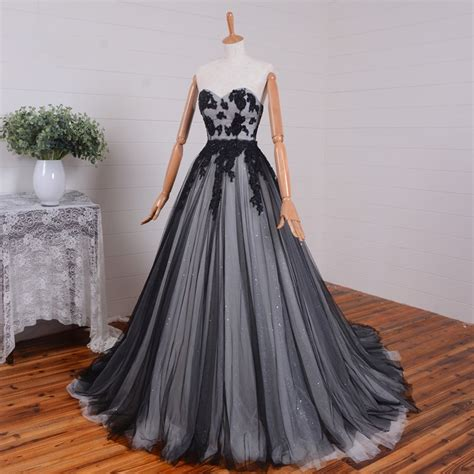 Kivary Gothic Black and Ivory A Line Long Corset Prom ...