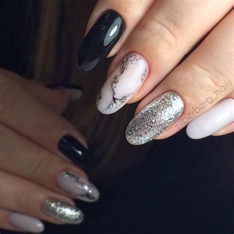 Маникюр черный с серебром 25 идей дизайна ногтей на фото