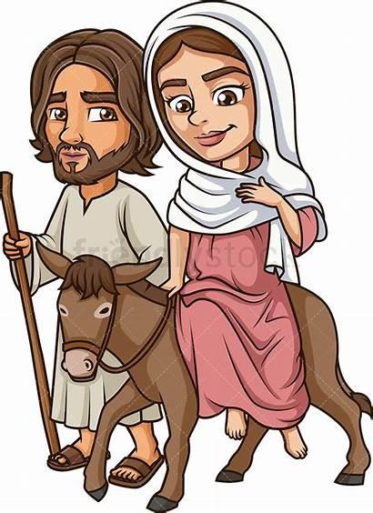 Mary Joseph Virgin Traveling Clipart Cartoon Jesus