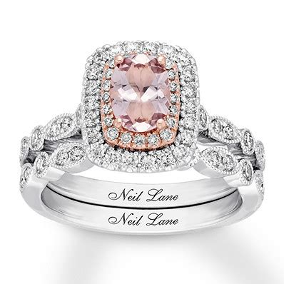 wedding ring shop bluewater neil morganite bridal 3 4 ct tw diamonds 14k gold
