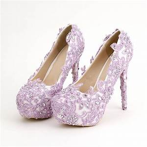 Light Purple Bride Shoes High Heels Rhinestone Pearl ...