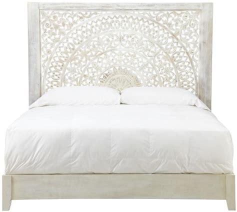 White King Headboard Wood by Handcarved White Carved Lotus Bed