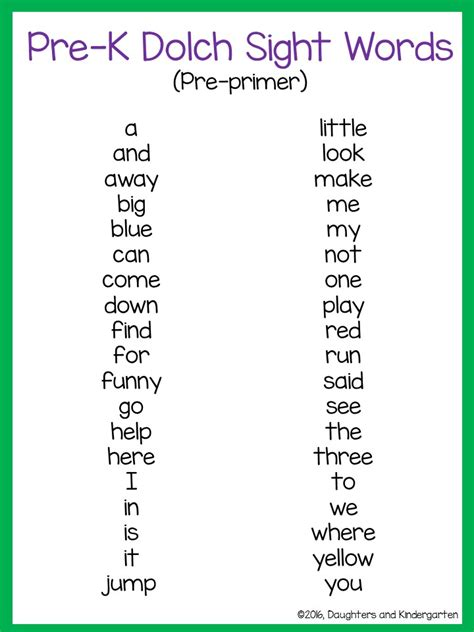 preschool sight words games daughters and kindergarten dolch sight word lists 862