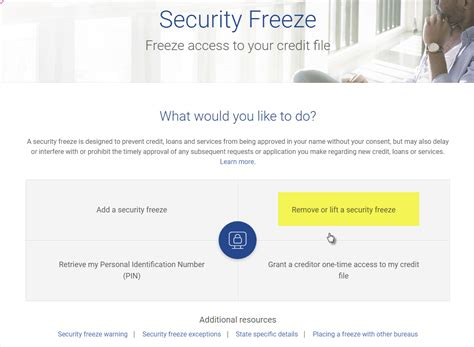 removing  lifting  experian credit security freeze