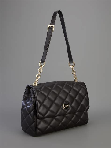 dolce gabbana quilted leather shoulder bag  brown