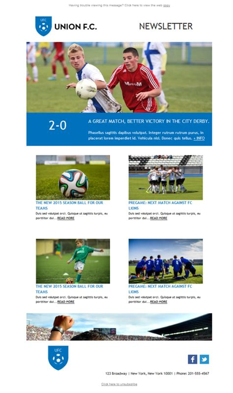 Team Newsletter Template by Free Email Templates Design Sports Team Soccer