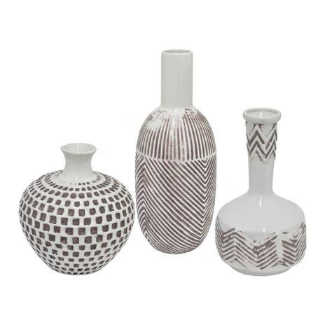 three ceramic decorative vase set of 3 38247 the home depot