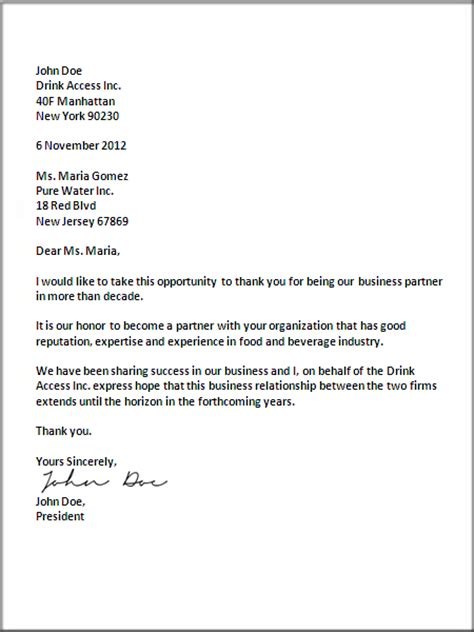 business letter format sles of business