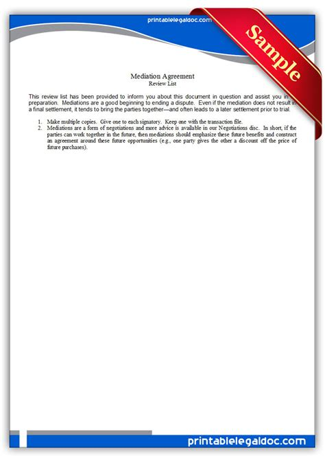 printable mediation agreement form generic
