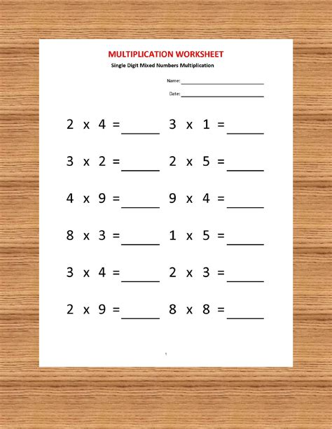 multiplication single digit practice worksheets 40 worksheets with answers pdf year 2 3 4