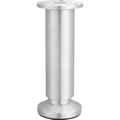 pied de meuble cylindrique reglable aluminium brosse gris