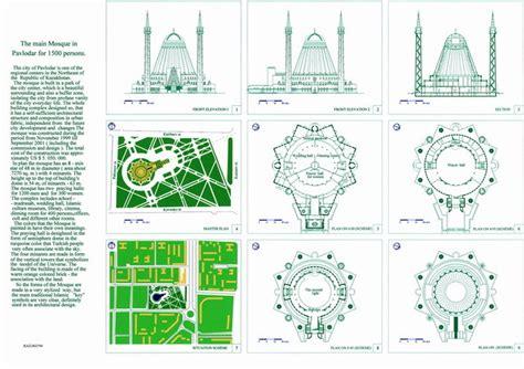 pavlodar main mosque panel site plans floor plans elevations section