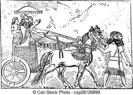 ashurbanipal   chariot vintage engraving