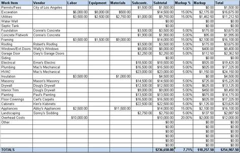 construction estimating software sheet
