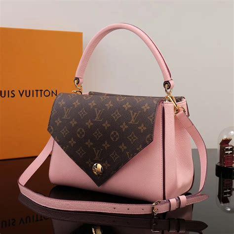replica lv louis vuitton monogram double  handbag  leather shoulder bag pink lv