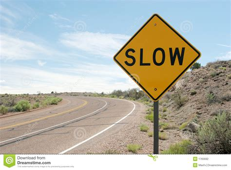 slow traffic sign stock photography image