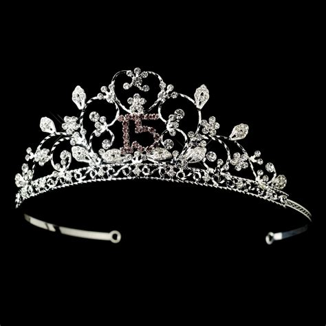 large rhinestone silver shiny quinceanera sparkling sweet 15 quinceaera rhinestone tiara with a