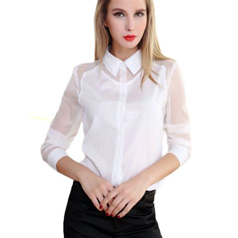 sleeve blouses for chiffon see through sleeve blouse shirt white m