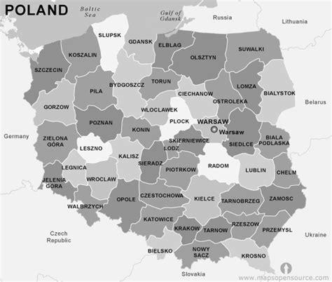 poland map black  white map  poland