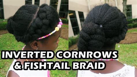 inverted cornrow fishtail braid  natural hair didi