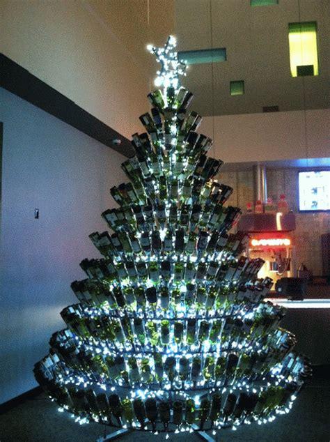 wine wankers wine bottle christmas tree twinkle  wine