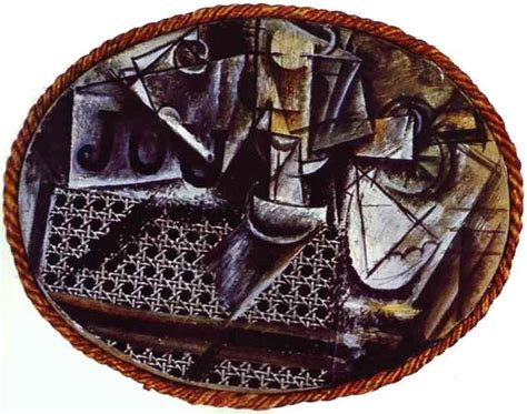 Picasso Still Chair With Caning Collage by Pablo Picasso Still With Chair Caning 1911