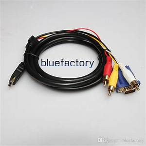 1 8 M 6ft Hdmi Male To Vga 15 Pin   3 Rca Component Audio