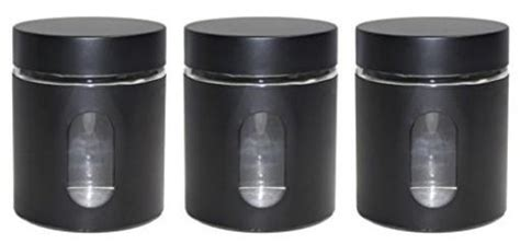 black kitchen storage jars canisters 3 black priority chef 4721