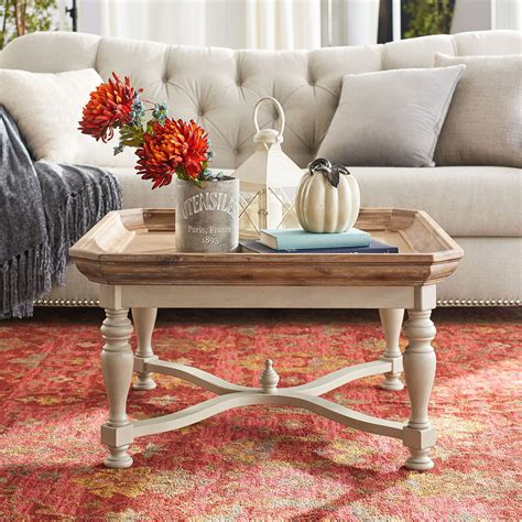 This post contains affiliate links. Amelia Natural Stonewash Square Coffee Table | Sofa table decor, Decorating coffee tables, Round ...