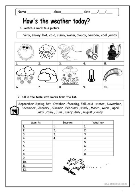 hows  weather worksheet  esl printable