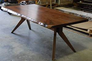 Hand Made Live Edge Slab Dining Table With Modern Trestle
