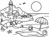 Coloring Beach Pages Cartoon sketch template