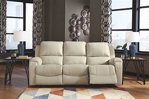 Rackingburg, Cream, Leather, Reclining, Sofa, Set, Signature, Design, By, Ashley, Product