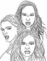 Vampire Coloring Pages Vampires Female Printable Adult Adults Mythical Colouring Dracula Sheets Scary Halloween Teeth Face Gothic Looking Printables Coloringsun sketch template