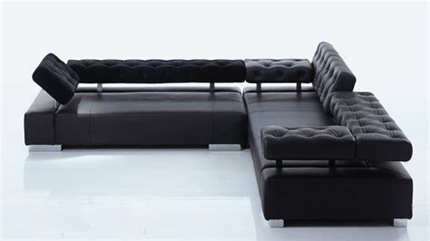 canapé cuir noir design canape angle design cuir crown noir fond blanc