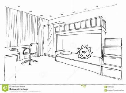 Sketch Children Interior Bedroom Graphical Liner Illustration