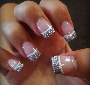 french tip nails with glitter really pretty | Nails ...