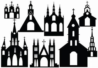 Silhouette Church Clipart Vector Castle Clip Churches